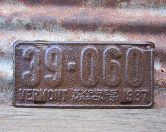Antique Vermont License Plate 1937 Heavily Rusted Aged License Plate Aged Metal Patina VTG Garage Man Cave Industrial Rat Rod Car Truck