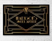 "GREAT GATSBY Backdrop Banner - Art Deco Style Printable Artwork - Digital File You Print - 60""w x 40""h - Sweet 16, 40th, 30th, 60th Birthday"