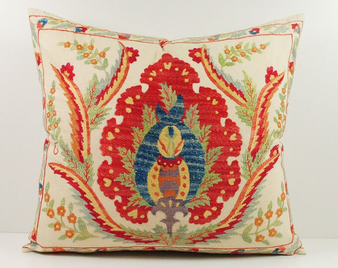 Handmade Suzani Silk Pillow Cover msp10-14, Suzani Pillow, Uzbek Suzani, Suzani Throw, Suzani, Decorative pillows, Accent pillows