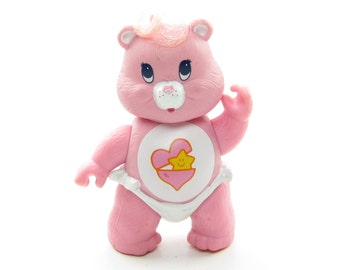 Baby Hugs Bear Vintage Care Bears Poseable Figurine Toy in Diaper, Pink with Heart & Star