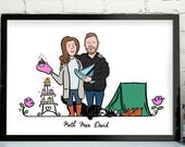 Custom Couple Portrait Print, Personalised Engagement Gift for Couple, Illustrated Wedding Portrait, Personalised Family Gift Print