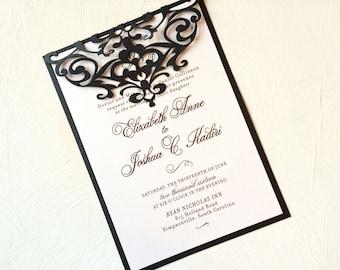 Laser Cut Scroll Folded Wedding Invitation, Black or Custom Color