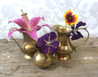 Small Brass Vase set of three, Pitchers, Centrepieces, Metal, vases, wedding decor
