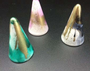 Marbled metallic Ring holders