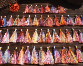 "Silky Rainbow Tassels Set Of 50 ,  3""inch Tassels With Silver/Gold Tie Thread, jewelry supply"
