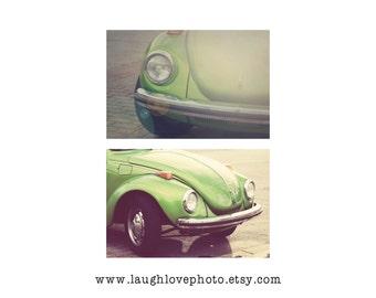 VW Bug Car Photo Print Set, Vintage Volkswagon Beetle Photography, Retro Lime Green Chartruese Hippie Hipster Decor, Home Decor, Wall Art