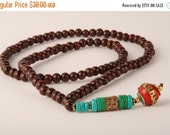ON SALE Nepali beads with Brass, Turquoise and Red Coral stones on a mala necklace - Ethnic mala beads necklace for meditation tribal neckla