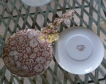 "Two Vintage Georgia Royal Tudor Ware Staffordshire  ENGLAND  6.25"" Plates"