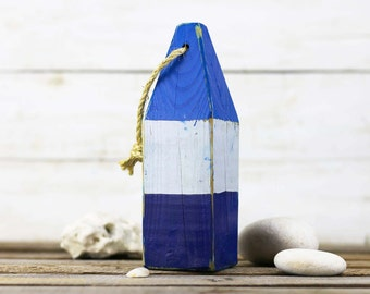"""Listing for emily240, Beach Decor, 11"""" Old-style lobster float buoy, Blue, White, Dark Blue, Vintage Style, Nautical, by SEASTYLE"""
