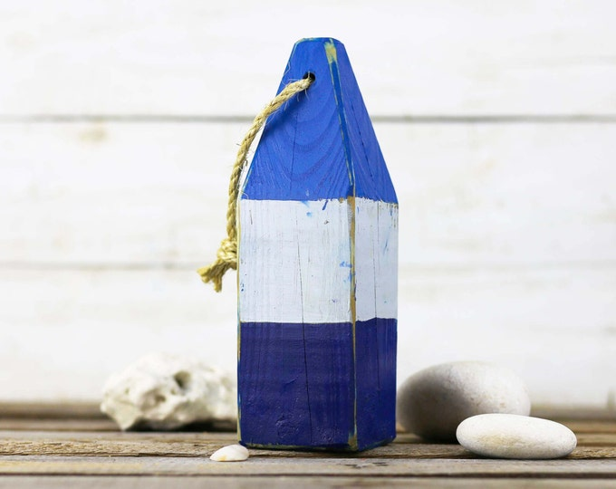 "Listing for emily240, Beach Decor, 11"" Old-style lobster float buoy, Blue, White, Dark Blue, Vintage Style, Nautical, by SEASTYLE"