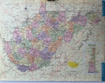 Vintage 1965 Hammond's World Atlas Map Page (West Virginia on one side and Washington on the other side)