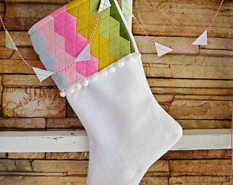 Wool Felt Stocking Pink Christmas Stockings Hexagon Decor Holiday Decor Under 50 Modern Christmas Xmas Decor