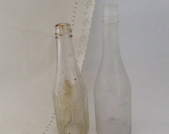 Vintage Bottles - Curtice Brothers -  old ketchup bottles - candleholders - rustic wedding  - collectible - old glass - Hawaiian Antique