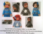 """10"""" Ann Estelle and Friends knitted Pattern, Hat, slippers & sweater"""