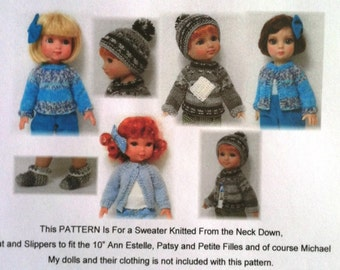"10"" Ann Estelle and Friends knitted Pattern, Hat, slippers & sweater"