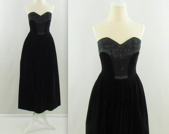 ON SALE L'Ombre Noire Dress - Vintage 1980s Strapless Black Velvet Midi Party Dress by Laura Ahsley- XSmall Beaded Lbd