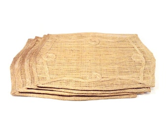 Vintage Abaca Placemats, Scroll Design, Set of 4, Philippines