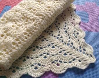 Yellow Crochet Baby Blanket Newborn Baby Shower Gift
