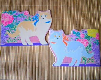 """Vintage 80's  """"CURRENT"""" Box of Blank Cutout Greeting Cards in a Single Cat Motif"""
