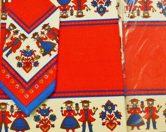 Vintage Kolf Austria Linen Placemats and Napkins, New Set of 2 Folk Red Blue Place Mats