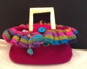 Hand crocheted felted bag. Mexicana.