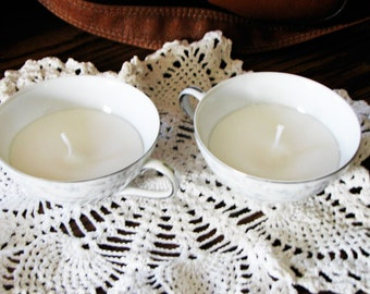 Pair of Teacup Candles, Light Patchouli Scent