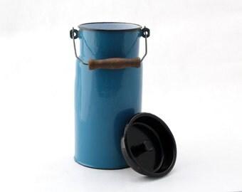 Vintage Enamel Milk Can, Blue milk box, Retro milk box, Milk Churn, Milk jug, Farmhouse decor, Rustic home decor, Milk can