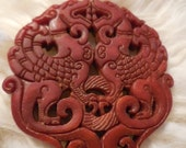 "Jade hand carved antique, pendant paperweight red jade 2 dragons and wreath  ""dragons unleashed"" 2- 1/2"" protection of circle symbol = earth"