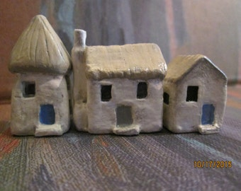 miniture houses 3 mini village handmade  see all 5 sets to create entire town  convo me if you wish to buy more than one