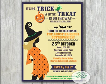 Baby Shower Invitation - Halloween, Polka Dot Trick or Treat Baby Reveal, 4 x 5.25 Printable PDF