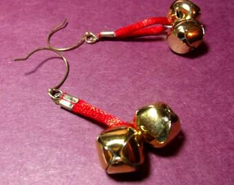 Christmas earrings, jingle bell earrings, jingle all the way, Red satin w bells, golden bell earrings, Holiday earrings