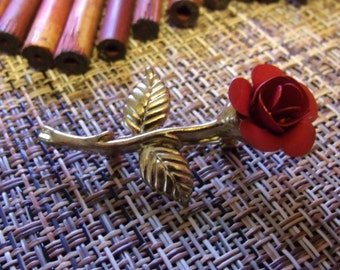 SALE 10% OFF - Red Rose Brooch, Gold metal stem with red rose, single red rose, Love jewelry.....