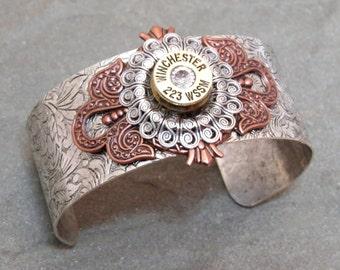 Swarovski Cuff Bracelet 223 Bullet Shell Casing Feminine Style