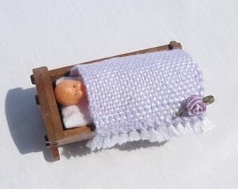 Dollhouse Baby Blanket Miniature Handwoven Lavender Baby Blanket Dollhouse Crib Blanket Tiny Doll Blanket Miniature Lavender Dollhouse Rug
