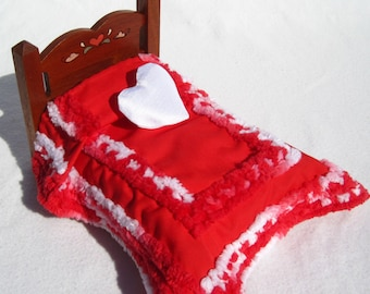 Dollhouse Chenille Bedspread Miniature Chenille Bedspread Mini Red Bedspread Red and White Small Doll Bedding Hand Tufted Bedding
