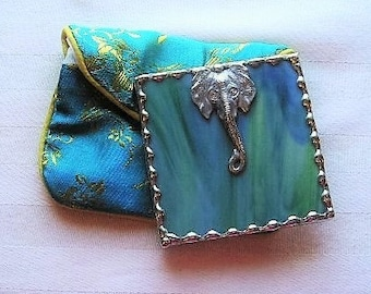 Stained Glass Purse Mirror|Pocket Mirror|Elephant Head|Elephant  Mirror|Blue-Green Glass|Protective Pouch|Handcrafted|Made in USA