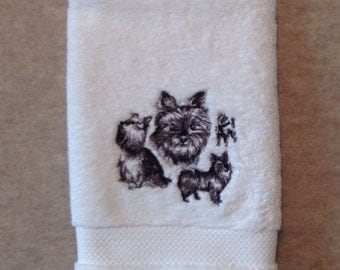 Yorkie sketch machine embroidery on white hand towel
