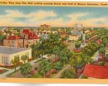 Linen Postcard, Galveston, Texas, View from City Hall Toward Beach and Gulf of Mexico