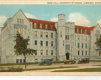 Linen Postcard, Lawrence, Kansas, University of Kansas, Snow Hall, 1941