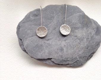 Silver Disk Earrings - Long Silver Earrings