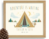 Camping Tent Nature Lover Gift Adventurous Couple Personalized Wedding Gift Kayaking Art Outdoor Adventure Camping Hiking Wilderness