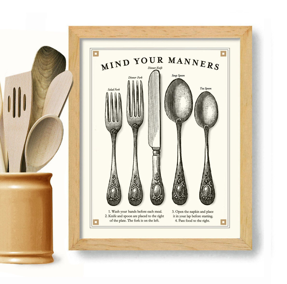 Black And White Kitchen Artwork: Kitchen Art Print Mind Your Manners Vintage Black And White