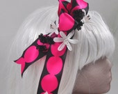 Steampunk Fasciator with pink and black bow, white flowers and black flowers OOAK