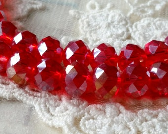 8 x 10 mm 48 Faceted Cut Rondelle AB Red Color Glass / Crystal / Lampwork Beads / Electroplate bead (.tmh)