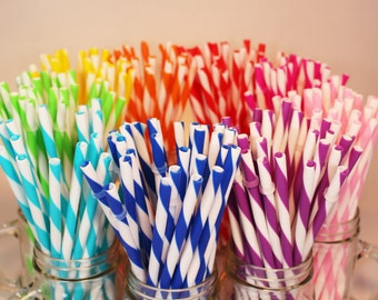 Reusable Acrylic Straws, BPA Free, Eco Friendly, 100 Striped Straws, For DIY Making Your Own Mason Jar Cup Tumblers, Wedding Favors