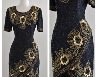 ON SALE Vintage Black and Gold Beaded Sequin Floral Formal Cocktail Party Dress by Stenay - Burlesque Cabaret Costume Ballroom Size Small to