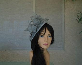 Gray fascinator Kentucky derby hat