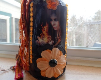 Witch, fire, wicca, bottle, altered art, assemblage