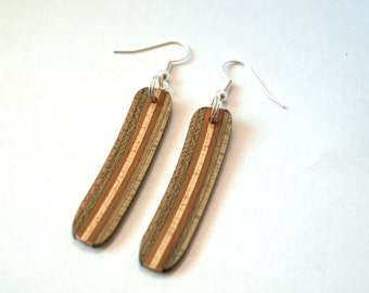 Recycled Skateboard Dangle Earrings - Unique Earrings - Maple Wood
