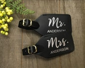 mr & mrs leather luggage tag - foil leather luggage tag - personalized - real foil and leather - set of 2 - wifey/hubby